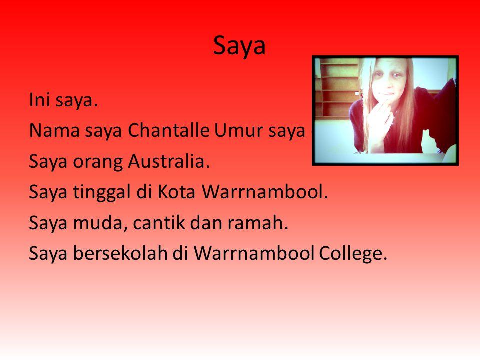 Saya Ini saya. Nama saya Chantalle Umur saya duabelas. Saya orang Australia. Saya tinggal di Kota Warrnambool. Saya muda, cantik dan ramah. Saya berse