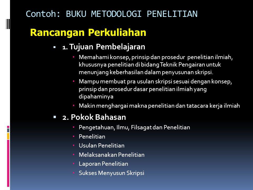 Contoh: BUKU METODOLOGI PENELITIAN  1.