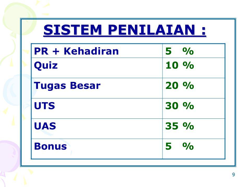 9 SISTEM PENILAIAN : PR + Kehadiran5 % Quiz10 % Tugas Besar20 % UTS30 % UAS35 % Bonus5 %