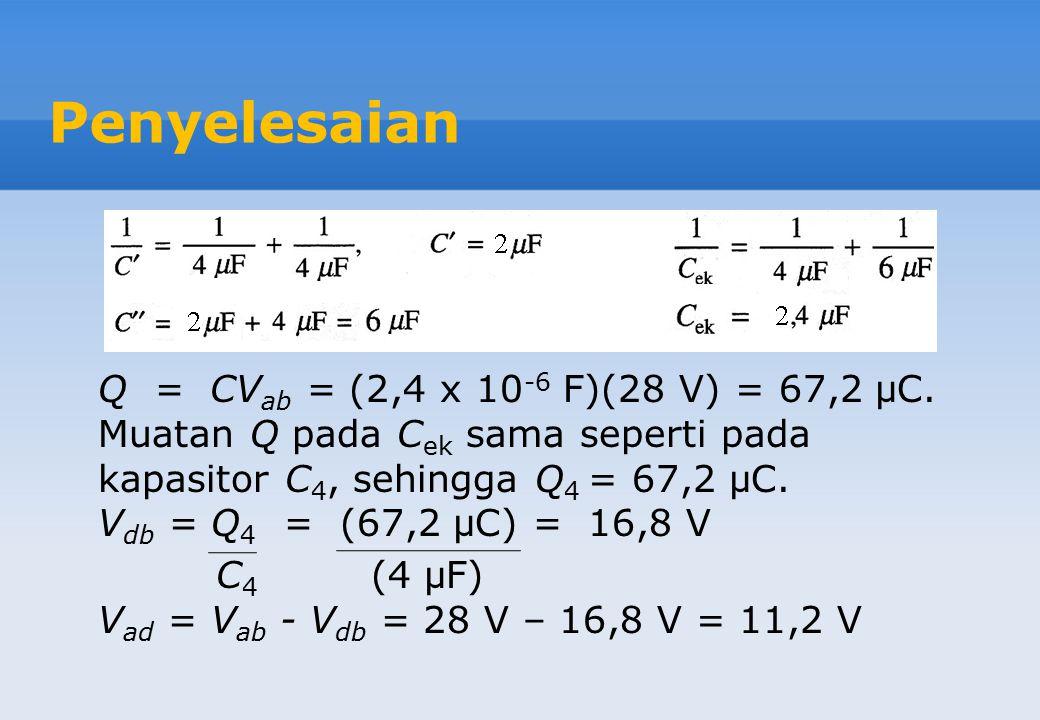 Contoh Soal #5 Dalam gambar di atas, setiap kapasitor mempunyai kapasitansi C = 4,00 μF dan Vab = +28,0 V. Hitunglah muatan pada setiap kapasitor dan