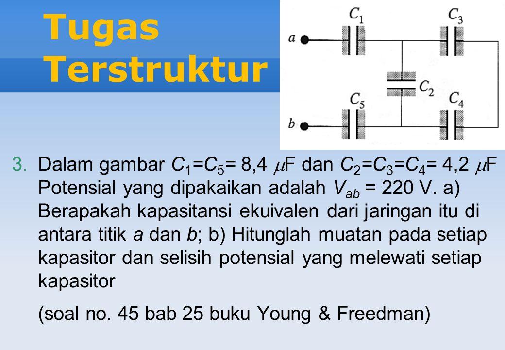 Tugas Terstruktur 2.Dua pelat sejajar mempunyai muatan yang sama besarnya dan berlawanan tandanya. Bila ruang di antara pelat-pelat itu dikosongkan, m