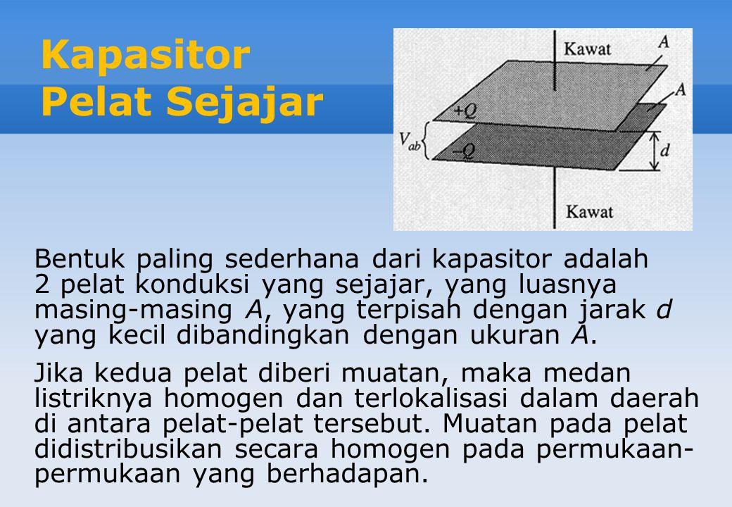 Kapasitor Pelat Sejajar Bentuk paling sederhana dari kapasitor adalah 2 pelat konduksi yang sejajar, yang luasnya masing-masing A, yang terpisah dengan jarak d yang kecil dibandingkan dengan ukuran A.