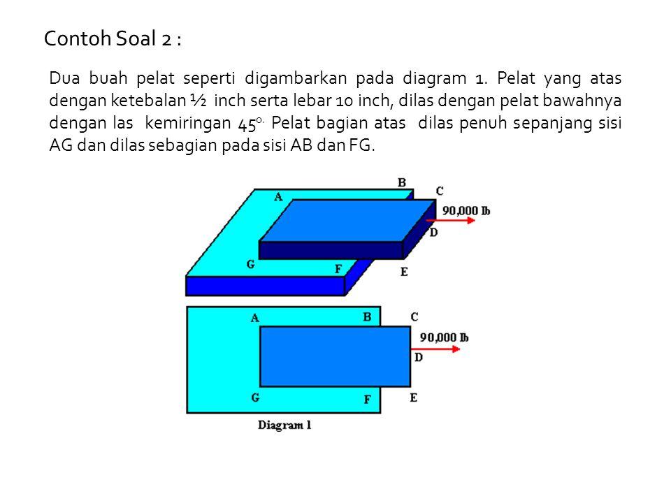 Contoh Soal 2 : Dua buah pelat seperti digambarkan pada diagram 1. Pelat yang atas dengan ketebalan ½ inch serta lebar 10 inch, dilas dengan pelat baw