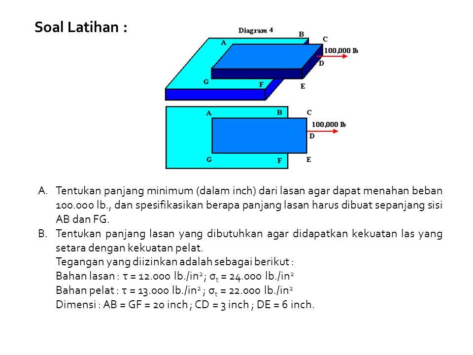 Soal Latihan : A.Tentukan panjang minimum (dalam inch) dari lasan agar dapat menahan beban 100.000 lb., dan spesifikasikan berapa panjang lasan harus