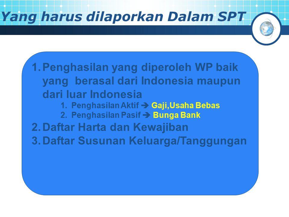 Yang harus dilaporkan Dalam SPT 1.Penghasilan yang diperoleh WP baik yang berasal dari Indonesia maupun dari luar Indonesia 1.Penghasilan Aktif  Gaji,Usaha Bebas 2.Penghasilan Pasif  Bunga Bank 2.Daftar Harta dan Kewajiban 3.Daftar Susunan Keluarga/Tanggungan