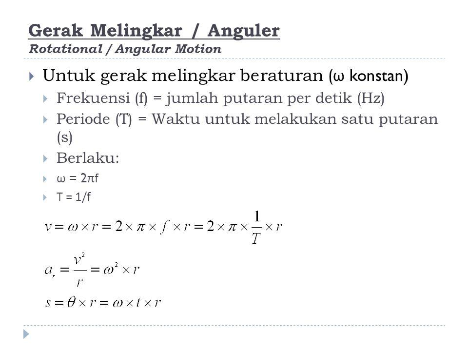 Gerak Melingkar / Anguler Rotational / Angular Motion  Gerak melingkar berubah beraturan (α konstan)  Benda mengalami percepatan tangensial a T atau disebut juga sebagai percepatan linier