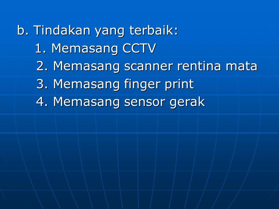 b. Tindakan yang terbaik: 1. Memasang CCTV 1. Memasang CCTV 2. Memasang scanner rentina mata 2. Memasang scanner rentina mata 3. Memasang finger print