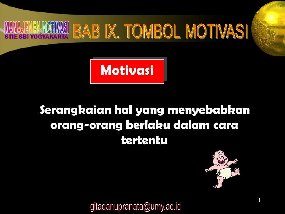 1 Motivasi Serangkaian hal yang menyebabkan orang-orang berlaku dalam cara tertentu