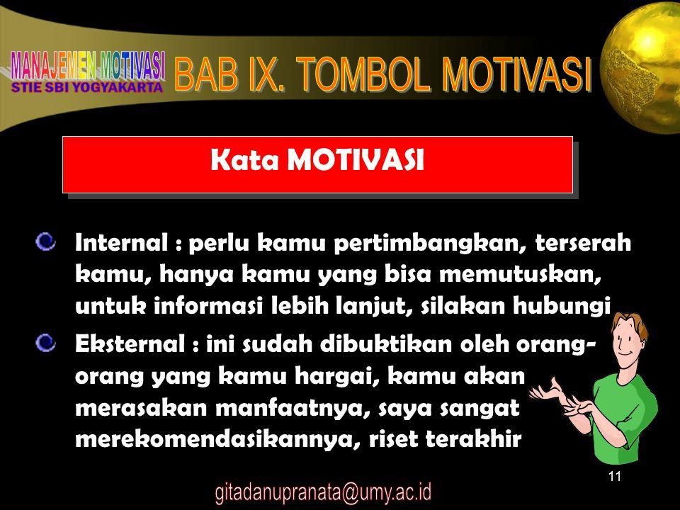 11 Kata MOTIVASI Internal : perlu kamu pertimbangkan, terserah kamu, hanya kamu yang bisa memutuskan, untuk informasi lebih lanjut, silakan hubungi Ek