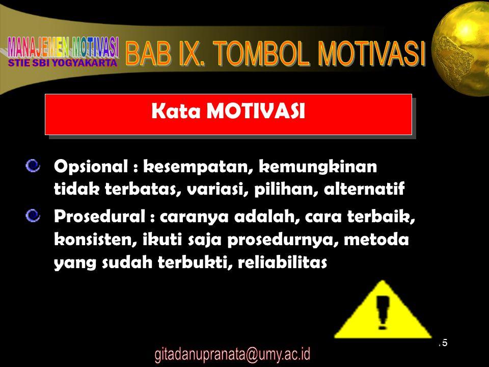 15 Kata MOTIVASI Opsional : kesempatan, kemungkinan tidak terbatas, variasi, pilihan, alternatif Prosedural : caranya adalah, cara terbaik, konsisten,