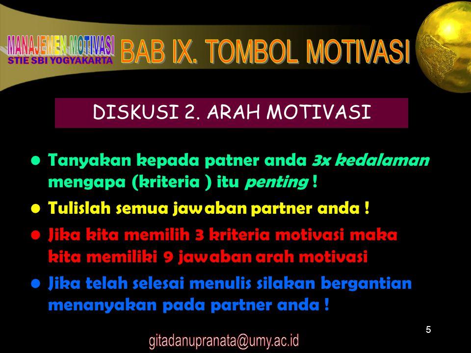 6 ARAH MOTIVASI Mendekati : Termotivasi untuk mencapai tujuan (hal-hal diinginkan) Menjahui : Termotivasi untuk menghindari masalah (hal-hal yang tidak diinginkan)