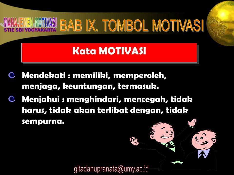 7 Kata MOTIVASI Mendekati : memiliki, memperoleh, menjaga, keuntungan, termasuk. Menjahui : menghindari, mencegah, tidak harus, tidak akan terlibat de