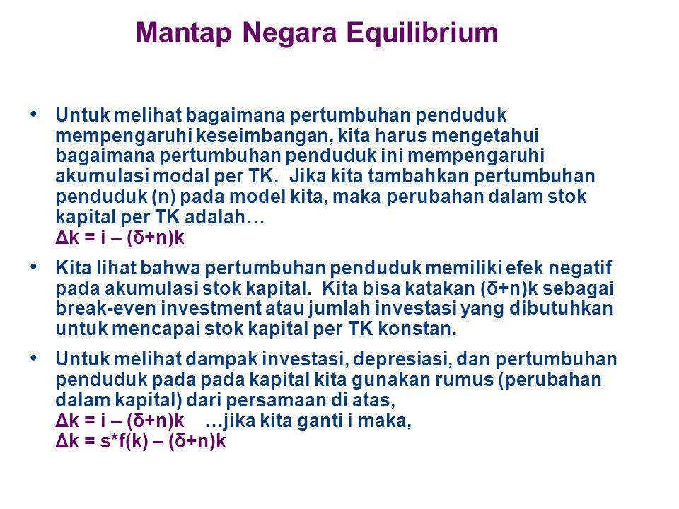Mantap Negara Equilibrium Untuk melihat bagaimana pertumbuhan penduduk mempengaruhi keseimbangan, kita harus mengetahui bagaimana pertumbuhan penduduk ini mempengaruhi akumulasi modal per TK.