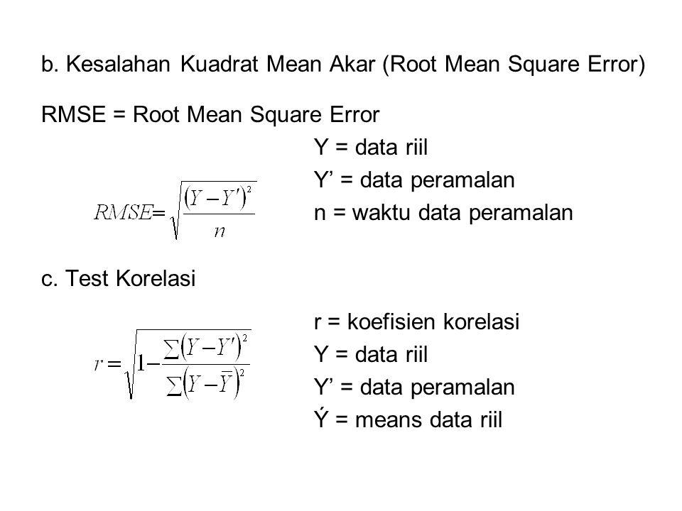 b. Kesalahan Kuadrat Mean Akar (Root Mean Square Error) RMSE = Root Mean Square Error Y = data riil Y' = data peramalan n = waktu data peramalan c. Te