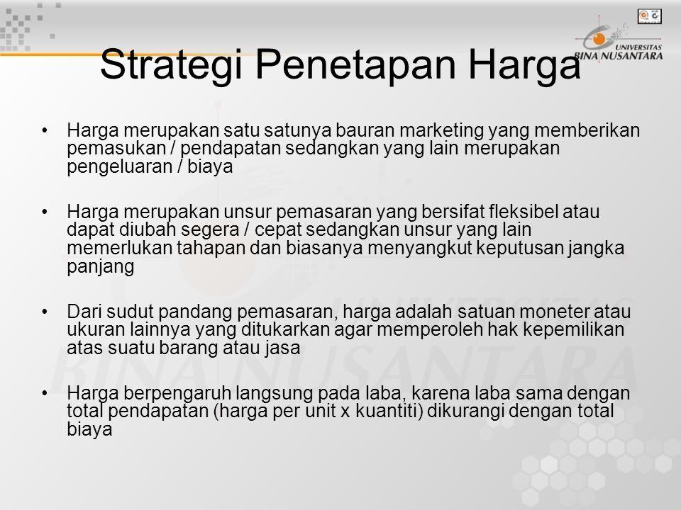 Strategi Penetapan Harga Harga merupakan satu satunya bauran marketing yang memberikan pemasukan / pendapatan sedangkan yang lain merupakan pengeluara