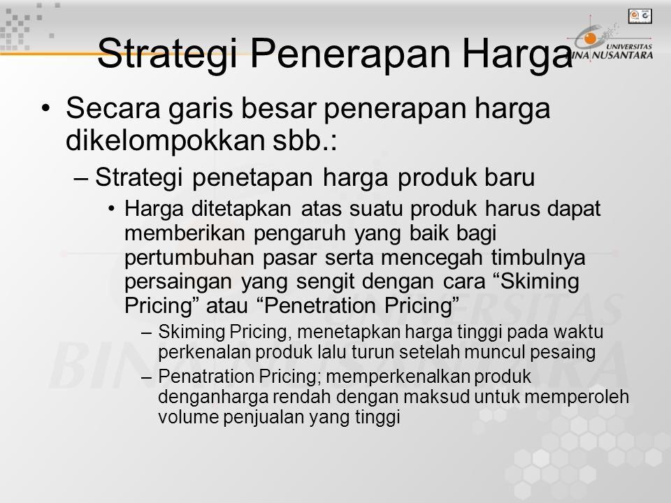 Strategi Penerapan Harga Secara garis besar penerapan harga dikelompokkan sbb.: –Strategi penetapan harga produk baru Harga ditetapkan atas suatu produk harus dapat memberikan pengaruh yang baik bagi pertumbuhan pasar serta mencegah timbulnya persaingan yang sengit dengan cara Skiming Pricing atau Penetration Pricing –Skiming Pricing, menetapkan harga tinggi pada waktu perkenalan produk lalu turun setelah muncul pesaing –Penatration Pricing; memperkenalkan produk denganharga rendah dengan maksud untuk memperoleh volume penjualan yang tinggi