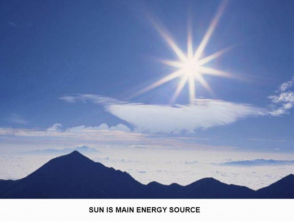 SUN IS MAIN ENERGY SOURCE