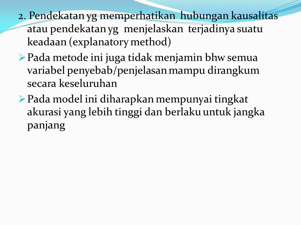 2. Pendekatan yg memperhatikan hubungan kausalitas atau pendekatan yg menjelaskan terjadinya suatu keadaan (explanatory method)  Pada metode ini juga