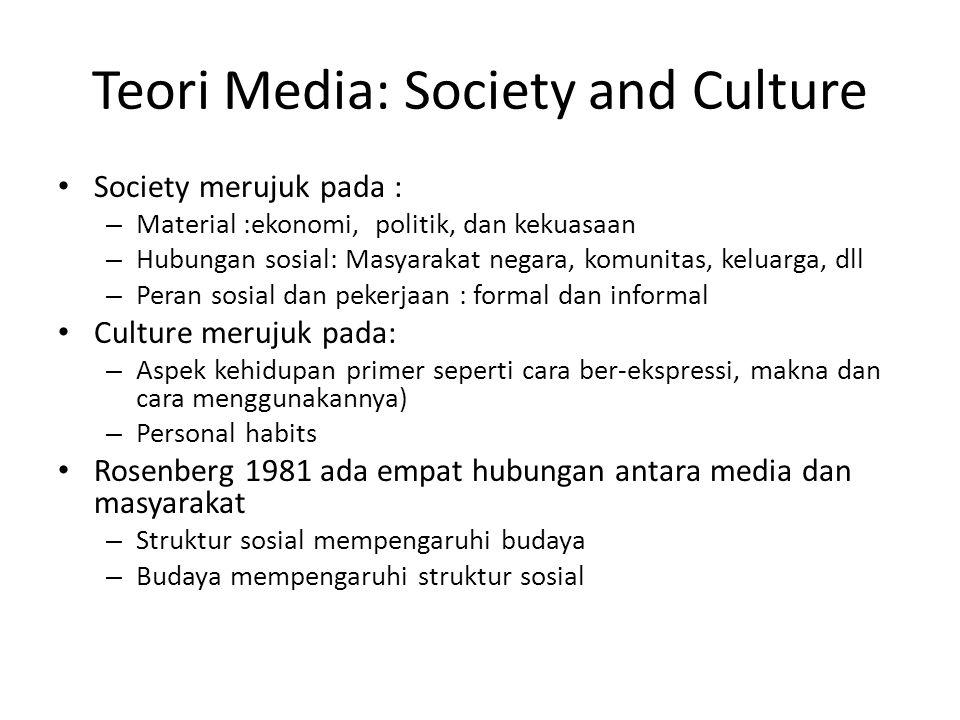 Saling ketergantungan (Two way influence) Idealisme (media sangat kuat berpengaruh) Materialisme (Media terpengaruh) Otonom (Tidak ada keterkaitan) Struktur sosial mempengaruhi budaya Budaya mempengaruhi Struktur sosial Yes No Gambar : Empat tipe relasi antara Budaya (isi media) dan masyarakat Media dan masyarakat : Keterkaitan dalam hubungan dan konflik