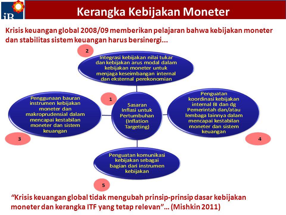 Kerangka Kebijakan Moneter Krisis keuangan global 2008/09 memberikan pelajaran bahwa kebijakan moneter dan stabilitas sistem keuangan harus bersinergi