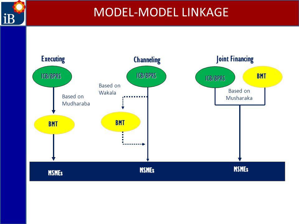 ExecutingICB/BPRS BMT MSMEs MSMEs MSMEs MSMEs Joint Financing ICB/BPRS BMT Channeling ICB/BPRS BMT Based on Mudharaba Based on Wakala Based on Mushara