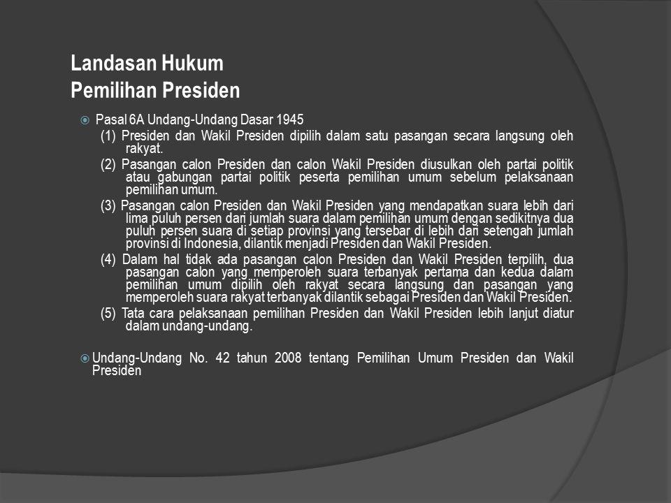 Landasan Hukum Pemilihan Presiden  Pasal 6A Undang-Undang Dasar 1945 (1) Presiden dan Wakil Presiden dipilih dalam satu pasangan secara langsung oleh