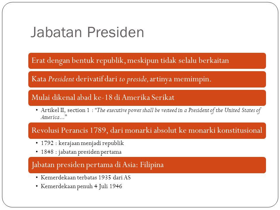 Jabatan Presiden Erat dengan bentuk republik, meskipun tidak selalu berkaitanKata President derivatif dari to preside, artinya memimpin.Mulai dikenal