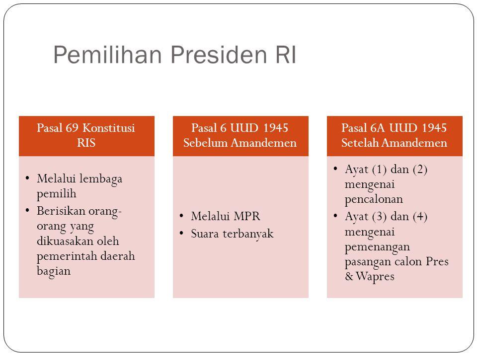 Pemilihan Presiden RI Pasal 69 Konstitusi RIS Melalui lembaga pemilih Berisikan orang- orang yang dikuasakan oleh pemerintah daerah bagian Pasal 6 UUD