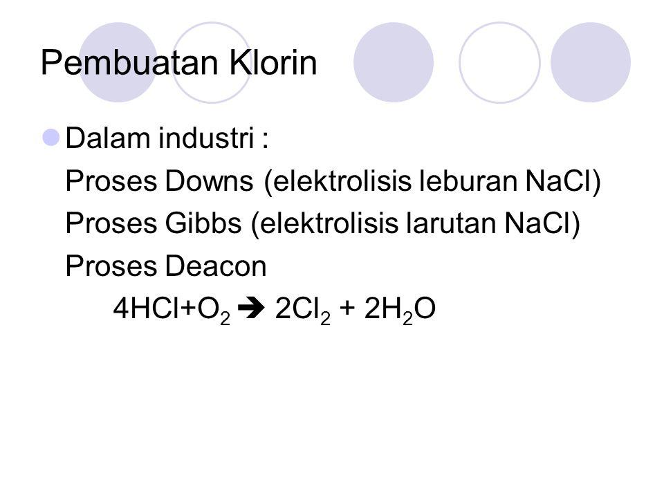 Pembuatan Klorin Dalam industri : Proses Downs (elektrolisis leburan NaCl) Proses Gibbs (elektrolisis larutan NaCl) Proses Deacon 4HCl+O 2  2Cl 2 + 2