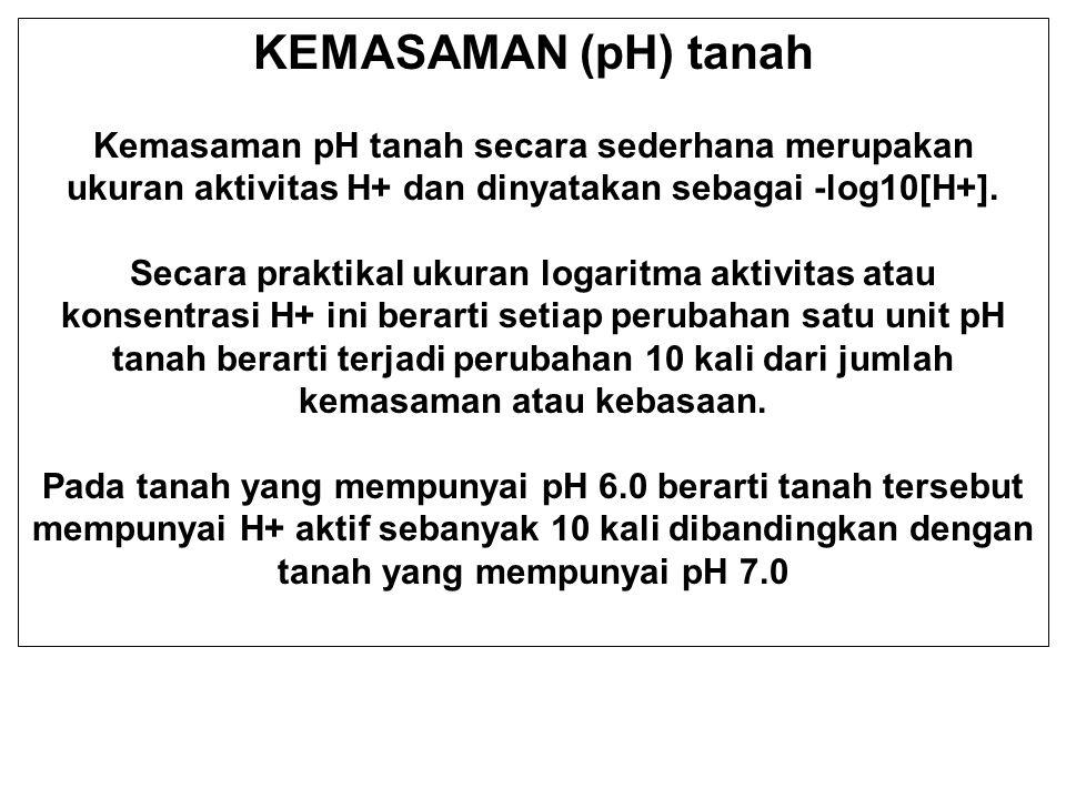 KEMASAMAN (pH) tanah Kemasaman pH tanah secara sederhana merupakan ukuran aktivitas H+ dan dinyatakan sebagai -log10[H+]. Secara praktikal ukuran loga
