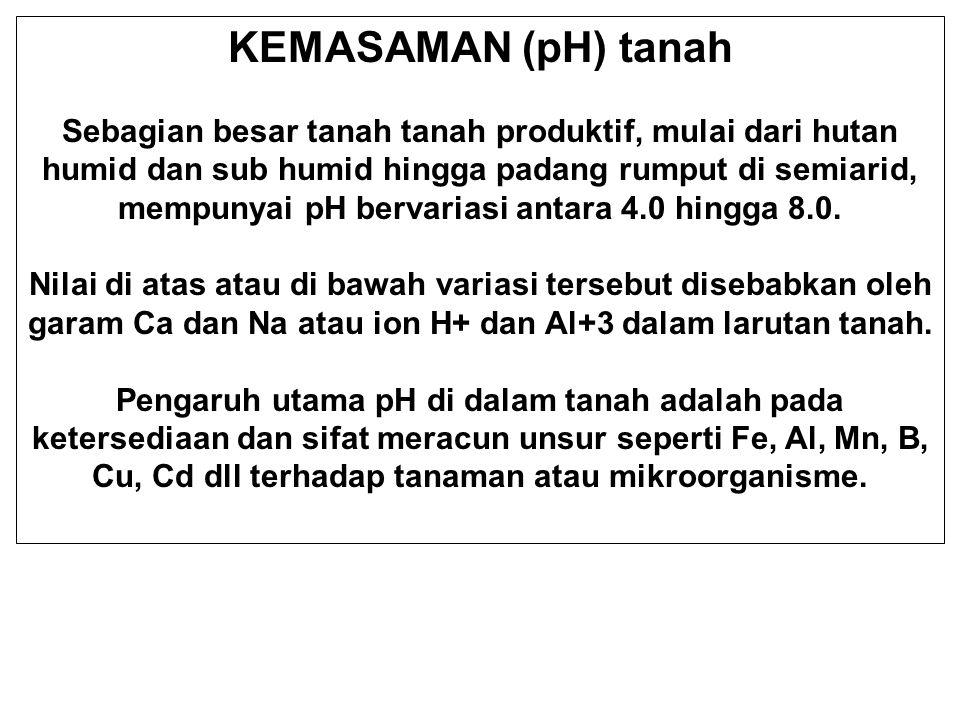 pH = - log [H + ] [H + ] dlm larutan tanah ……….Kemasaman aktif [H + ] dijerap koloid tanah ……….