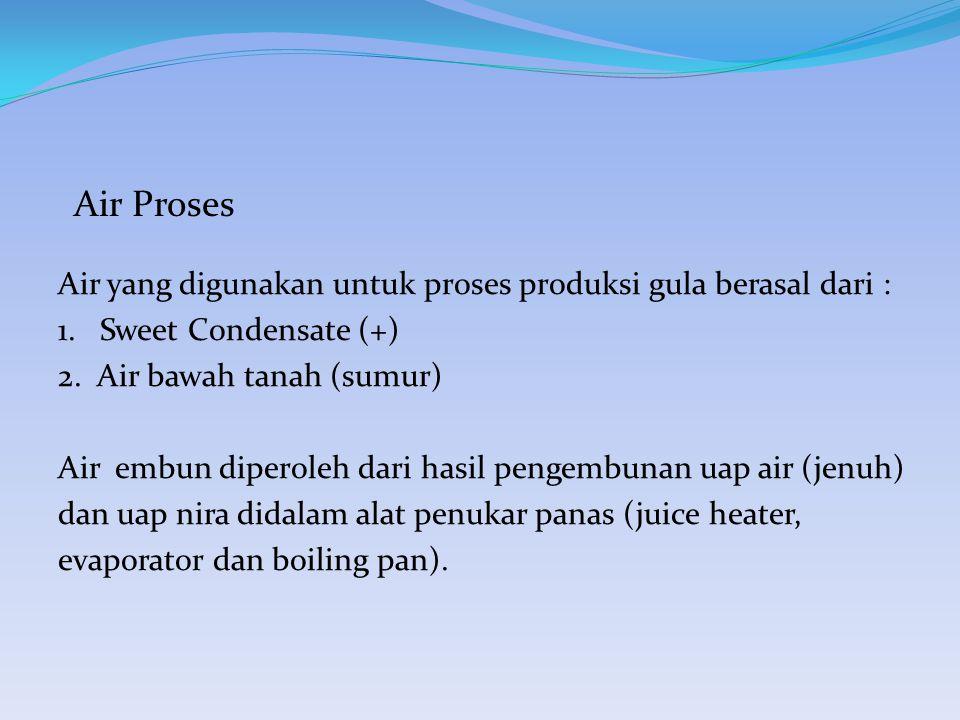 Air Proses Air yang digunakan untuk proses produksi gula berasal dari : 1.