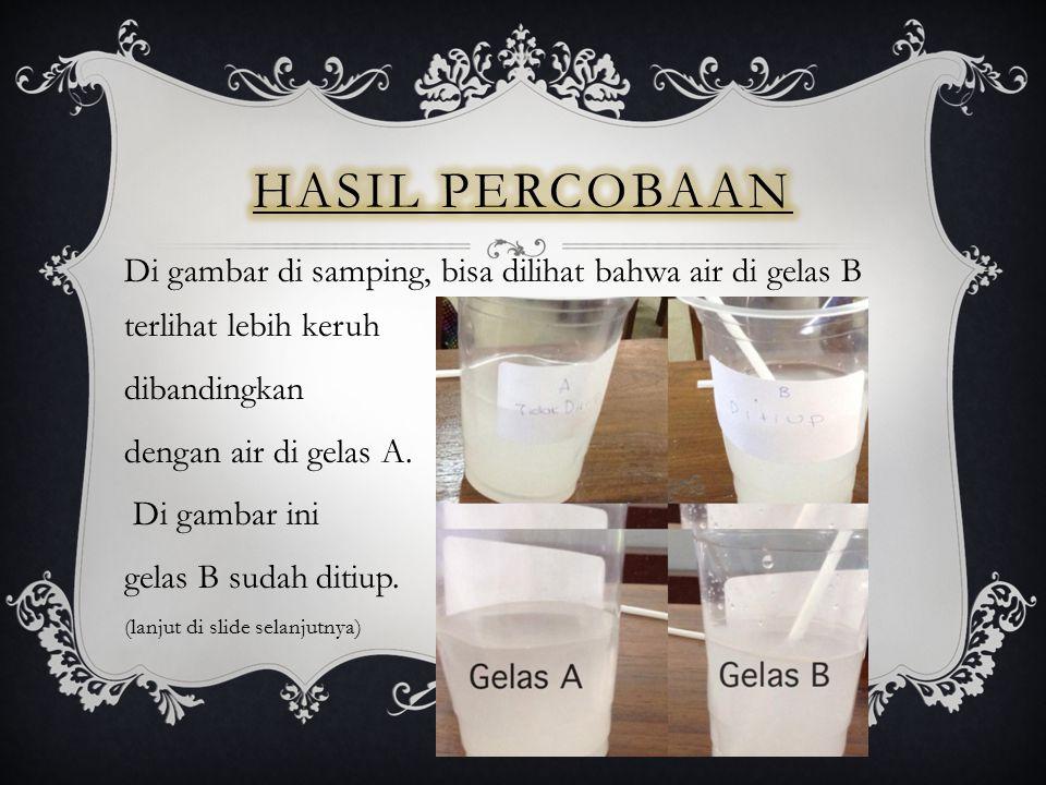 Di gambar di samping, bisa dilihat bahwa air di gelas B terlihat lebih keruh dibandingkan dengan air di gelas A. Di gambar ini gelas B sudah ditiup. (