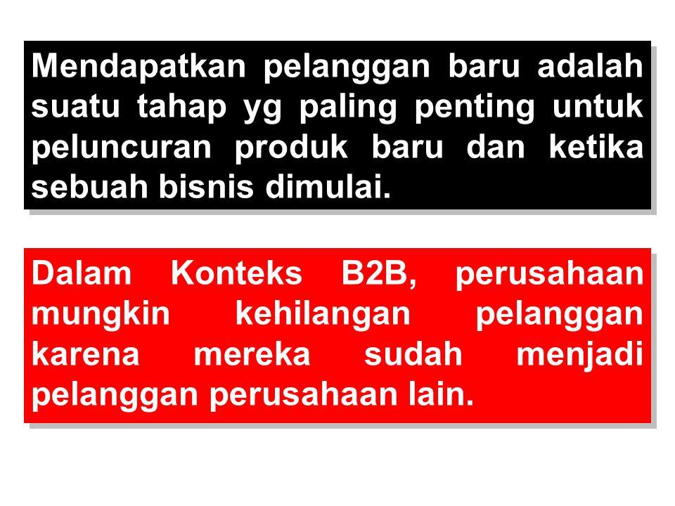Dalam Konteks B2B, perusahaan mungkin kehilangan pelanggan karena mereka sudah menjadi pelanggan perusahaan lain. Mendapatkan pelanggan baru adalah su