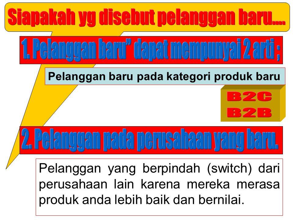 Pelanggan yang berpindah (switch) dari perusahaan lain karena mereka merasa produk anda lebih baik dan bernilai. Pelanggan baru pada kategori produk b