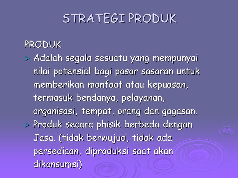 Tanggung Jawab Pengelolaan Produk  Strategi produk merupakan tanggung jawab beberapa level dalam perusahaan, yaitu : Manajemen Produk (Merek) Manajemen Produk (Merek) Aktivitasnya meliputi : perencanaan, pengelolaan dan koordinasi untuk suatu produk/merek tertentuAktivitasnya meliputi : perencanaan, pengelolaan dan koordinasi untuk suatu produk/merek tertentu Tanggung jawabnya mencakup analisis pasar, penetapan target, positioning, analisis dan strategi produk, identifikasi produk baru dan koordinasi kegiatan pemasaran.Tanggung jawabnya mencakup analisis pasar, penetapan target, positioning, analisis dan strategi produk, identifikasi produk baru dan koordinasi kegiatan pemasaran.