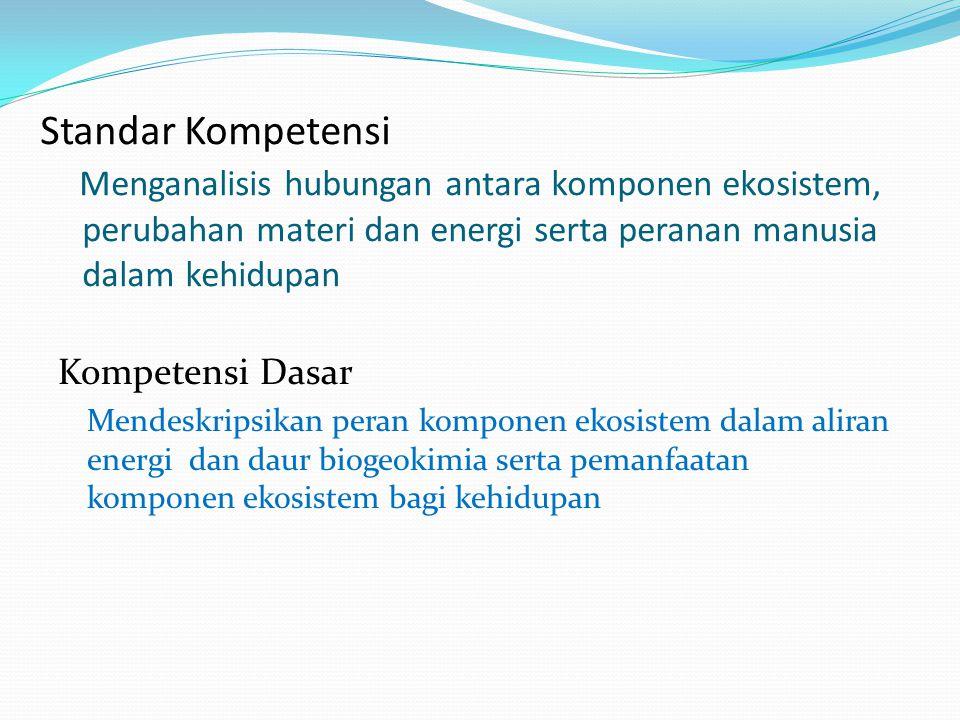Standar Kompetensi Menganalisis hubungan antara komponen ekosistem, perubahan materi dan energi serta peranan manusia dalam kehidupan Kompetensi Dasar Mendeskripsikan peran komponen ekosistem dalam aliran energi dan daur biogeokimia serta pemanfaatan komponen ekosistem bagi kehidupan