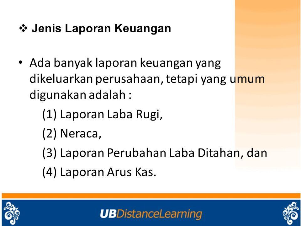  Jenis Laporan Keuangan Ada banyak laporan keuangan yang dikeluarkan perusahaan, tetapi yang umum digunakan adalah : (1) Laporan Laba Rugi, (2) Nerac