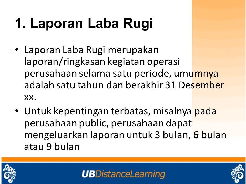 1. Laporan Laba Rugi Laporan Laba Rugi merupakan laporan/ringkasan kegiatan operasi perusahaan selama satu periode, umumnya adalah satu tahun dan bera