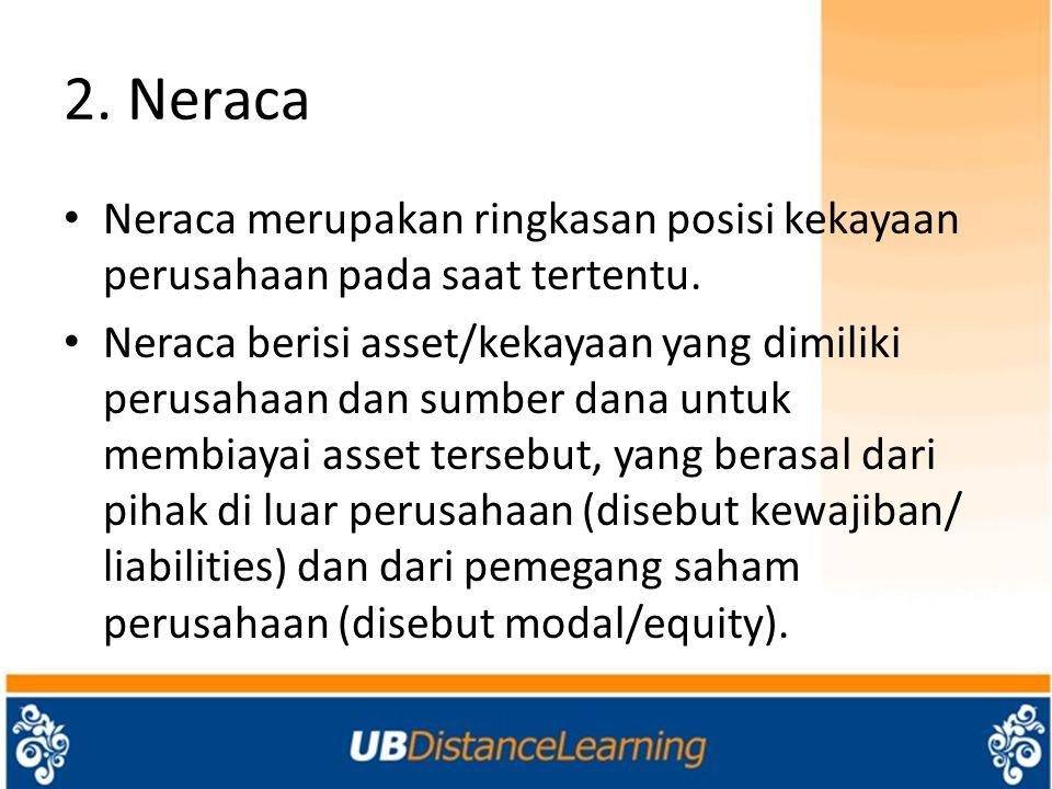 2. Neraca Neraca merupakan ringkasan posisi kekayaan perusahaan pada saat tertentu. Neraca berisi asset/kekayaan yang dimiliki perusahaan dan sumber d