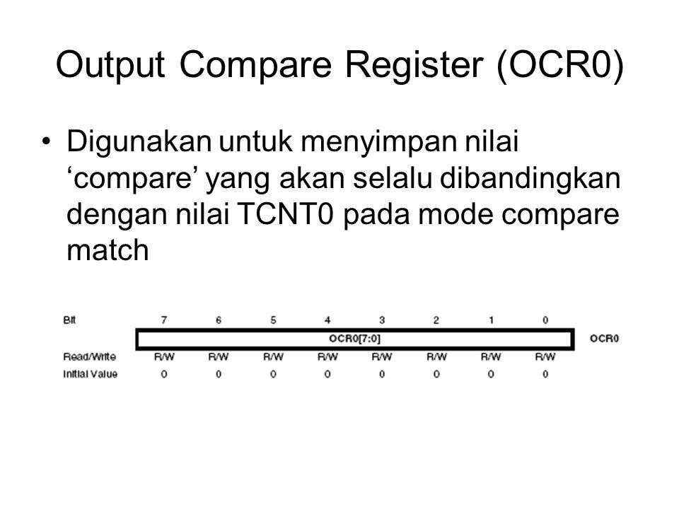 Output Compare Register (OCR0) Digunakan untuk menyimpan nilai 'compare' yang akan selalu dibandingkan dengan nilai TCNT0 pada mode compare match