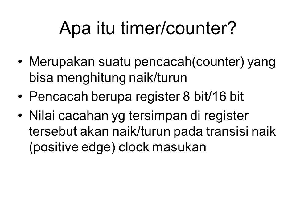 Apa itu timer/counter? Merupakan suatu pencacah(counter) yang bisa menghitung naik/turun Pencacah berupa register 8 bit/16 bit Nilai cacahan yg tersim