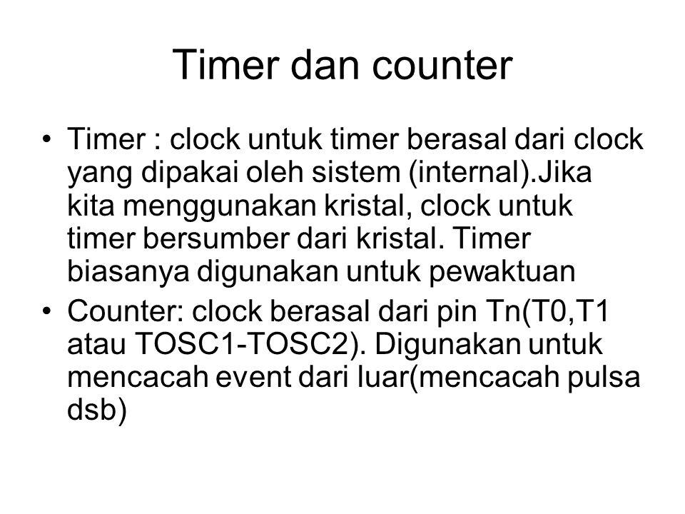Timer dan counter Timer : clock untuk timer berasal dari clock yang dipakai oleh sistem (internal).Jika kita menggunakan kristal, clock untuk timer be