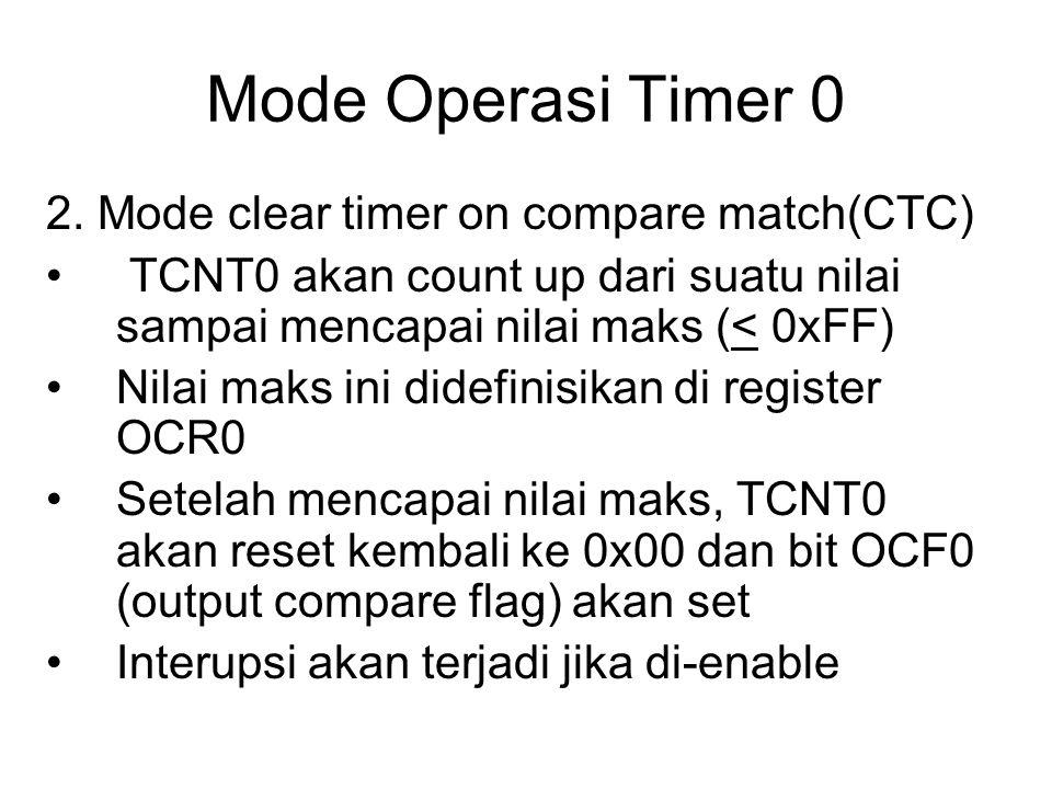 Mode Operasi Timer 0 2. Mode clear timer on compare match(CTC) TCNT0 akan count up dari suatu nilai sampai mencapai nilai maks (< 0xFF) Nilai maks ini
