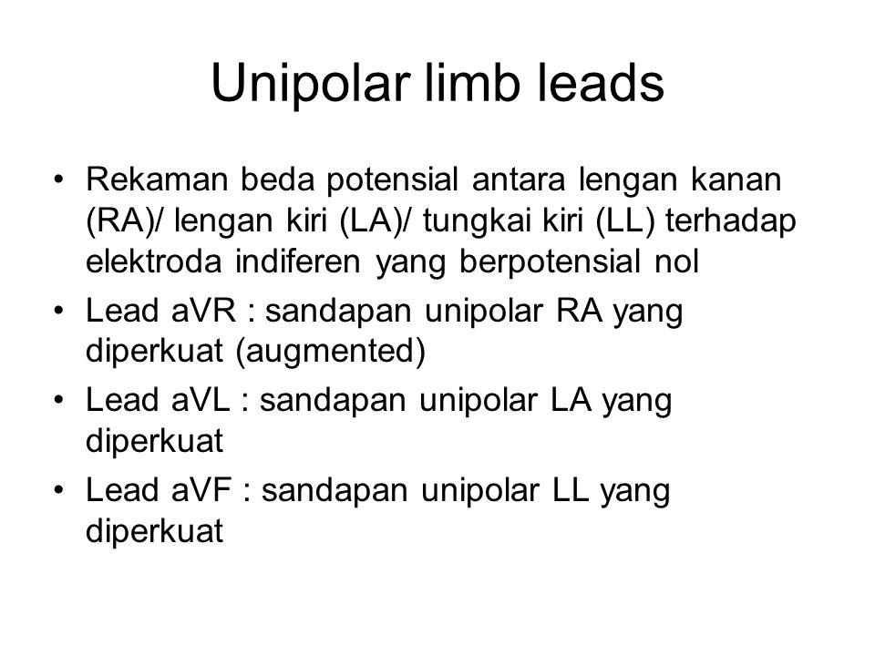 Unipolar limb leads Rekaman beda potensial antara lengan kanan (RA)/ lengan kiri (LA)/ tungkai kiri (LL) terhadap elektroda indiferen yang berpotensia