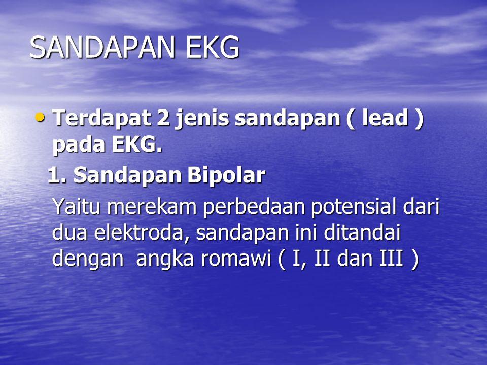 SANDAPAN EKG Terdapat 2 jenis sandapan ( lead ) pada EKG. Terdapat 2 jenis sandapan ( lead ) pada EKG. 1. Sandapan Bipolar 1. Sandapan Bipolar Yaitu m