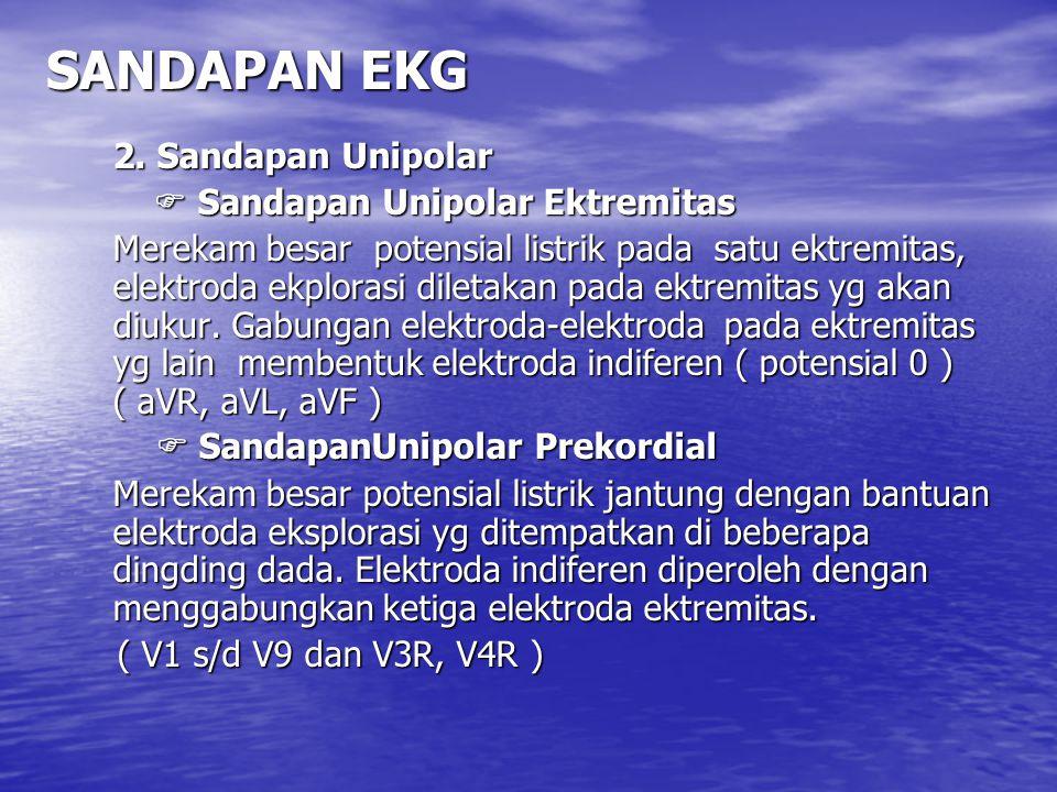 SANDAPAN EKG 2. Sandapan Unipolar  Sandapan Unipolar Ektremitas  Sandapan Unipolar Ektremitas Merekam besar potensial listrik pada satu ektremitas,
