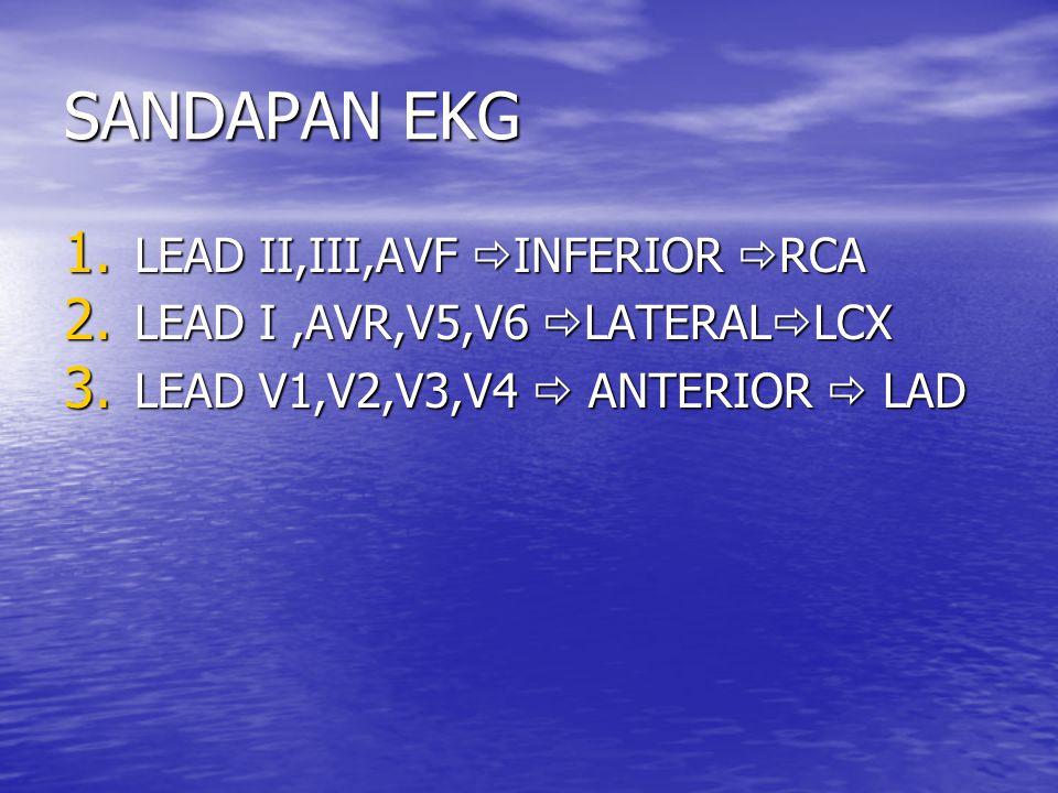 SANDAPAN EKG 1. LEAD II,III,AVF  INFERIOR  RCA 2. LEAD I,AVR,V5,V6  LATERAL  LCX 3. LEAD V1,V2,V3,V4  ANTERIOR  LAD