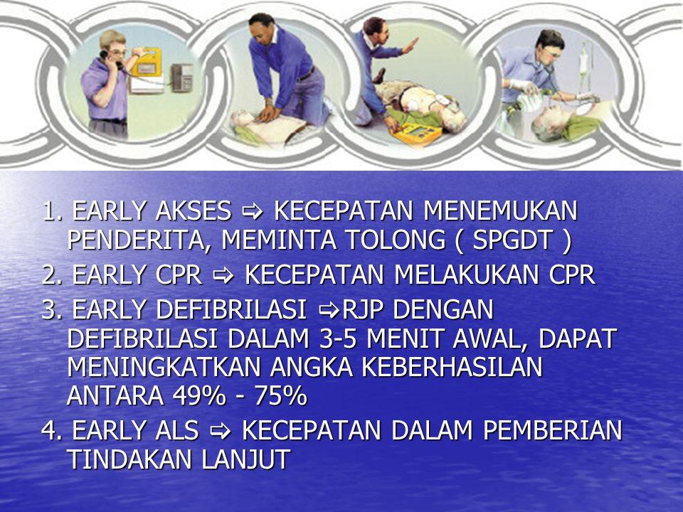 1. EARLY AKSES  KECEPATAN MENEMUKAN PENDERITA, MEMINTA TOLONG ( SPGDT ) 2. EARLY CPR  KECEPATAN MELAKUKAN CPR 3. EARLY DEFIBRILASI  RJP DENGAN DEFI
