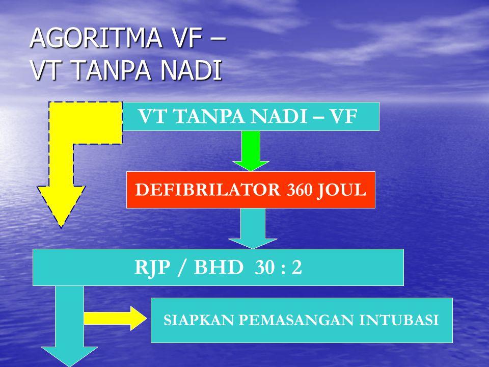 AGORITMA VF – VT TANPA NADI VT TANPA NADI – VF DEFIBRILATOR 360 JOUL RJP / BHD 30 : 2 SIAPKAN PEMASANGAN INTUBASI